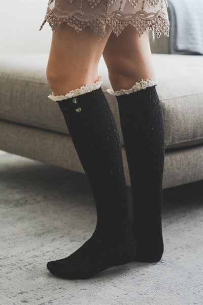 Black Ruffled Boot Socks