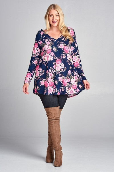 Navy & Fuchsia Plus Floral Top
