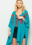 Peacock Blue Floral Embroidered Kimono
