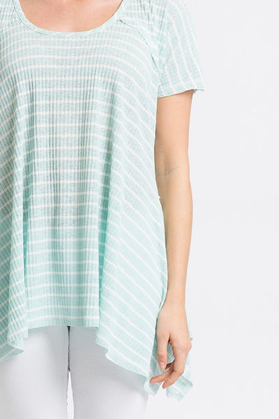 Plus Mint Stripe Rib Shark Bite Top