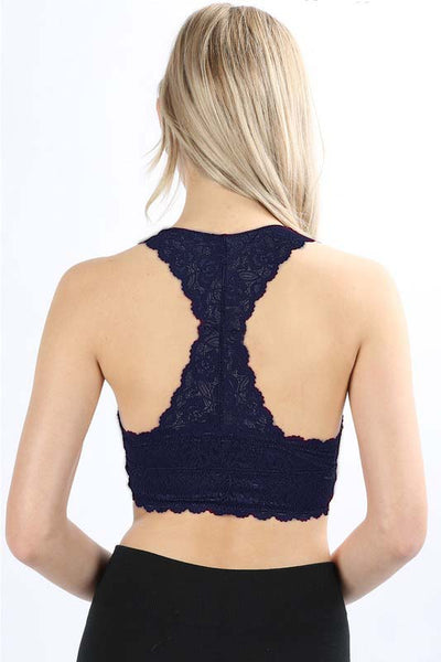 Midnight Navy Hourglass Lace Bralette