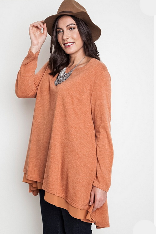 Rust Layered Flair Tunic