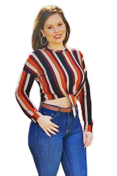 67ef9c375a Striped Long Sleeve Crop Top – The Teal Hanger Boutique LLC
