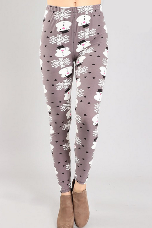 Curvy Snowman Fleece Leggings