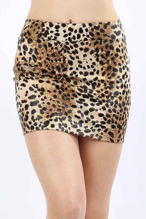 Taupe Leopard Print Mini Skirt