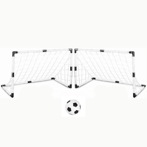 2 Sets DIY Children Sports Soccer Goals with Soccer Ball and Pump Practice Scrimmage Game Football Gate DIY White