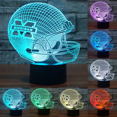 Michigan Wolverines Football Caps Helmet 7 Color LED Table Lamp