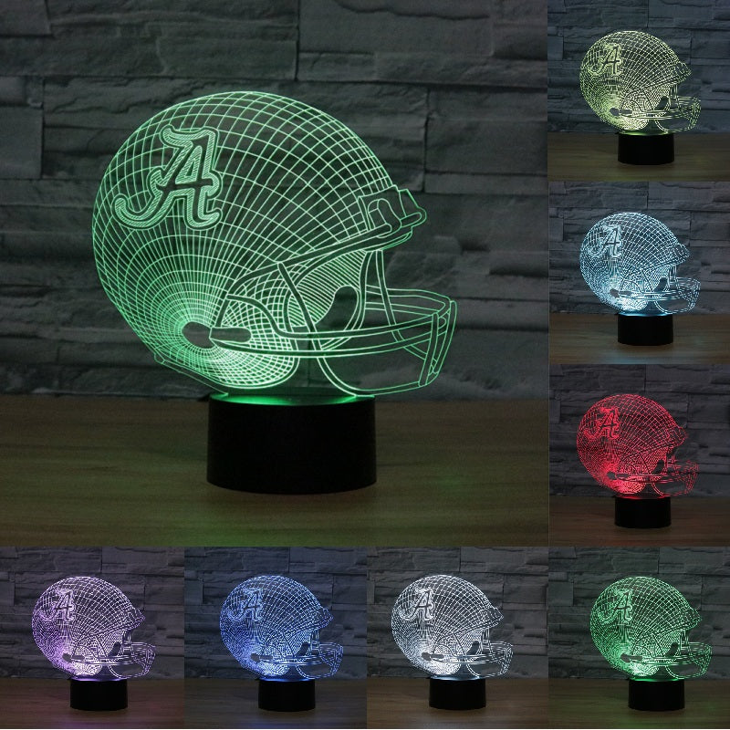 Baseball cap helmet Alabama Crimson Tides 3D LED night light 7 color changing Night Lamp USB touch switch table lamp IY803650