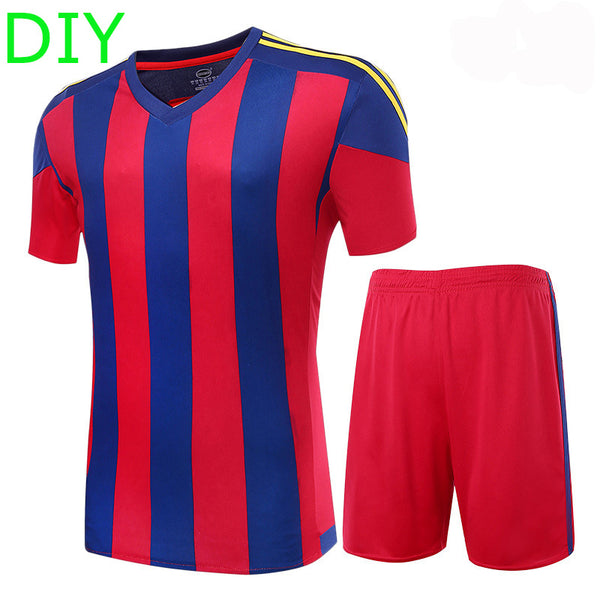 2016 17 Men's Soccer Jerseys Striped Blank Training Set Uniform Plain Football Suits Can Customize Logo Name For Adult / Kids