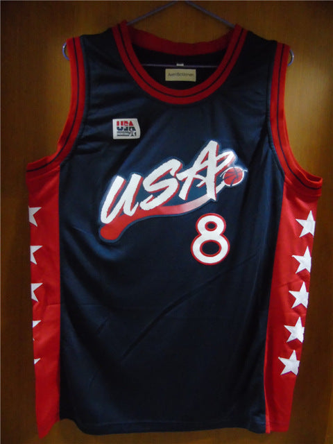 Aembotionen Scottie Pippen #8 USA Retro Throwback Stitched Basketball Jersey Sewn Camisa Embroidery Logos
