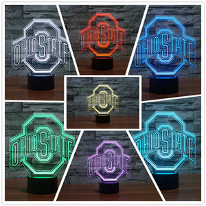 HOT SALE 2017 3D Team Logo LED USB Lamp OHIO STATE Soccer Football Helmet Sports Colors Changing Night Light Table Decor Gadget