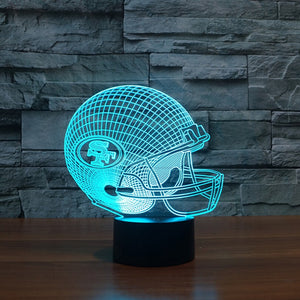 3D LED NFL San Francisco 49ers Football Helmet Night Light Touch 7 Colors Desk Lamp For Kid Gifts Toys Changing USB Table lamps