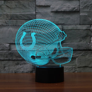 NFL 3D Acrylic Helmet Table lamp Touch 7 Colors Indianapolis Colts 3D Desk lamps Lampara USB 3D LED NightLight For Kids Gifts