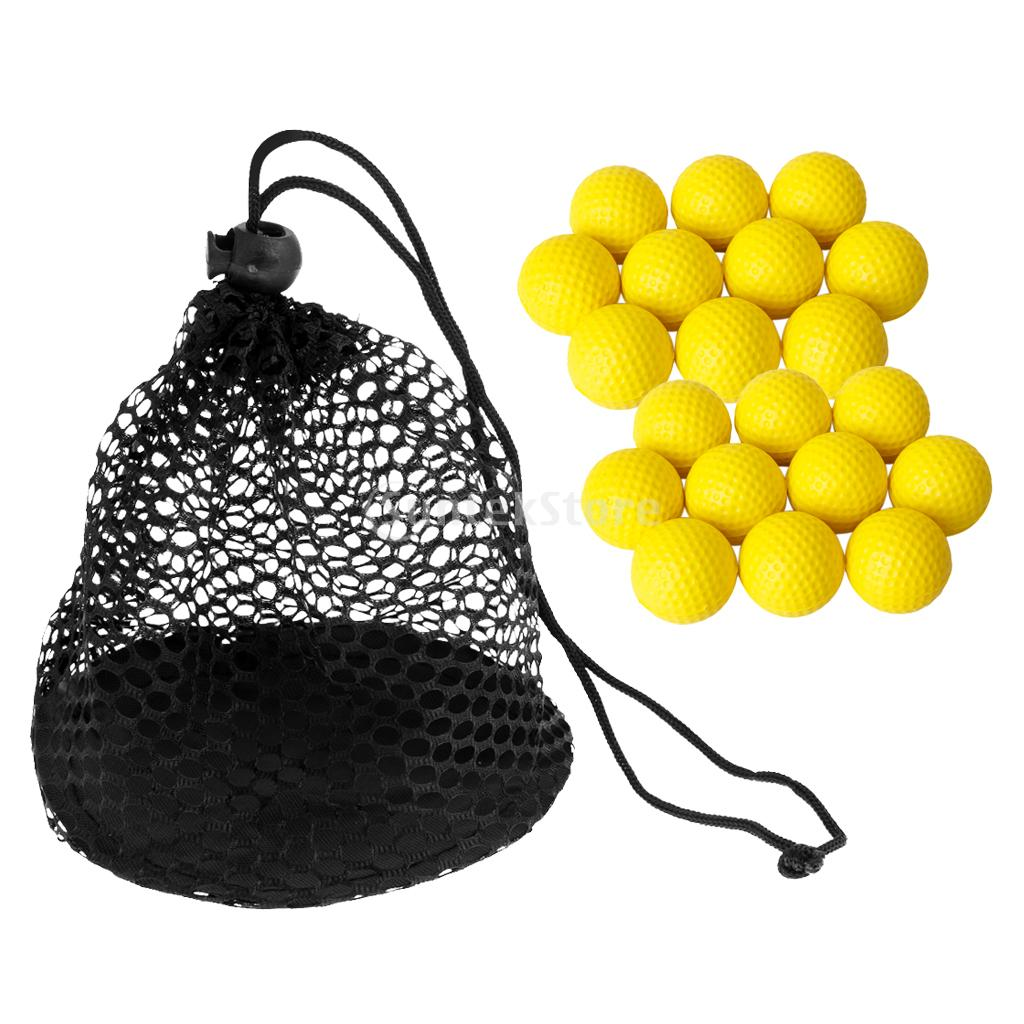 20 Pieces PU Soft Foam Golf Balls with Nylon Mesh Net Golf Storage Bag - Great for Golf Training Practice