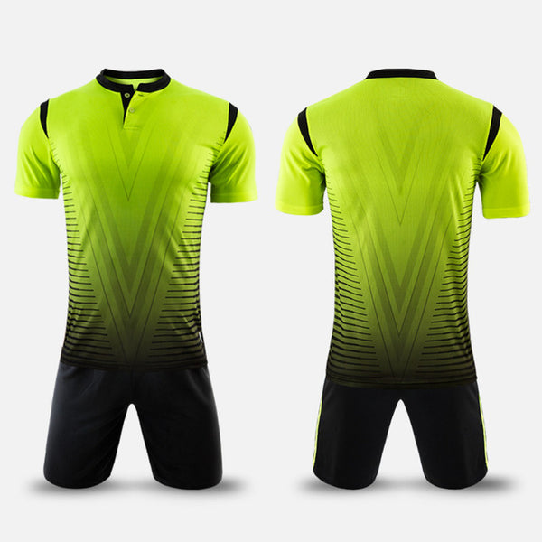 2017 new arrival polyester boys men football jerseys set blank soccer team training suits button quick dry short uniforms design
