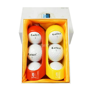 6 Pieces/Set Professional Golf Balls with 2 Golf Ball Clip Holders Practice Tournament Gift