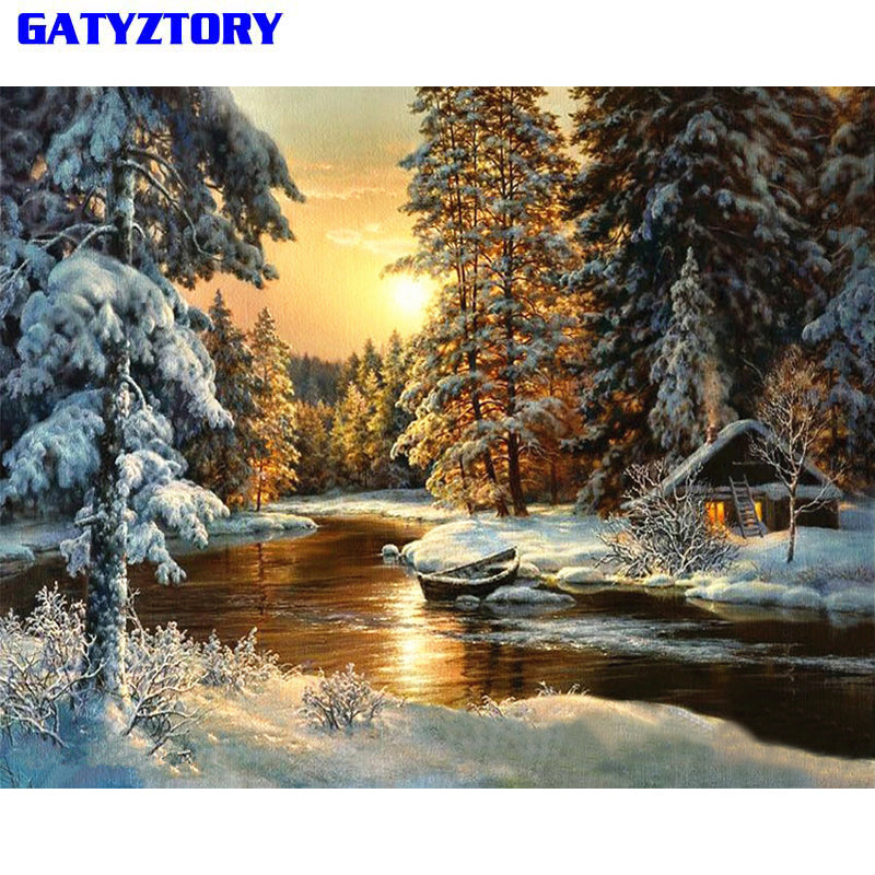 BRAND NEW Gorgeous Paint By Numbers Kit – Winter Cabin Scene