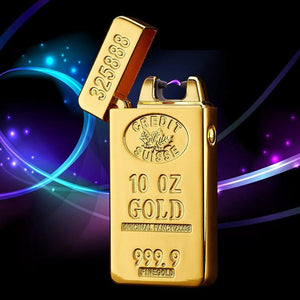 USB Lighter Electronic Rechargeable Lighter Plasma Bullion Pulsed Arc Lighter Windproof Thunder Gold Brick Metal