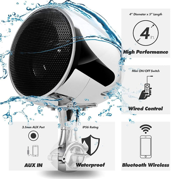 Aileap SPK350 High Performance 4 Inches Waterproof Motorcycle ATV Bluetooth Speaker With 300W Built-in D-class Amplifier Chrome