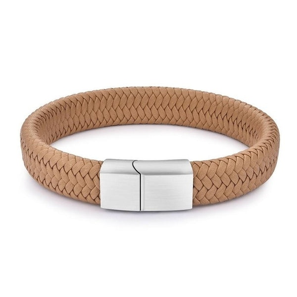 BRAND NEW Men's Braided Leather Bracelet – Stainless Steel Magnetic Clasp