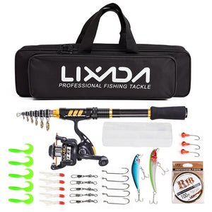 Lixada Telescopic Fishing Rods Reel Combo 100M Fishing Line Lures Hooks Jig Head Bag Accessories Full Kit Spinning Fish Pole Set