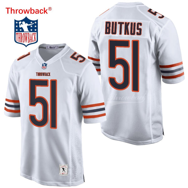 Throwback Jersey Men's Chicago American Football Jerseys Butkus Jersey Size S-XXXL Colour White Blue Wholesale