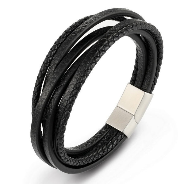 BRAND NEW Mens Genuine Leather Bracelet – Stainless Steel Magnetic Clasp