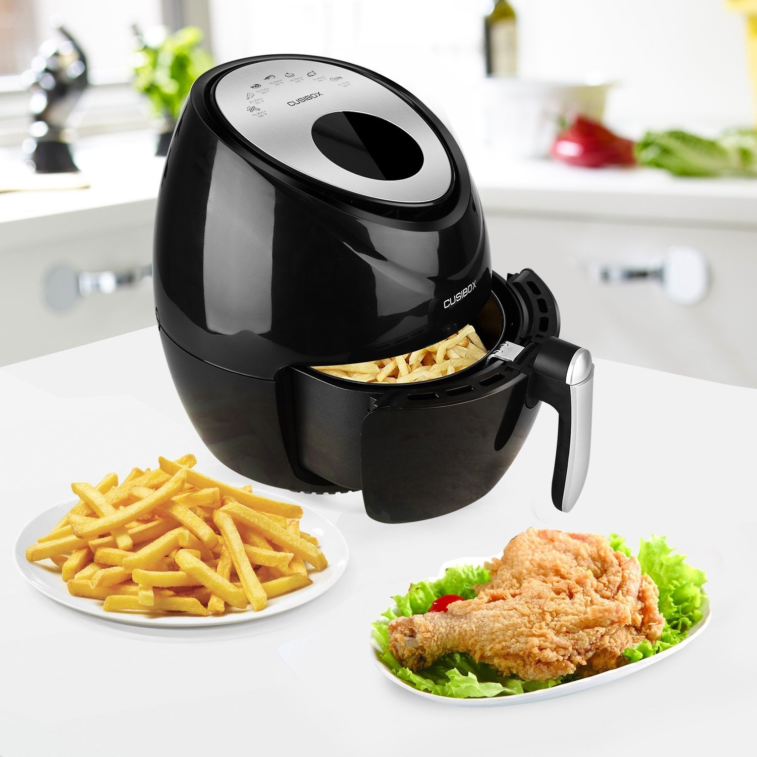 Digital Touch-Activated Air Fryer with LED Display and 7-in-1 Pre-programmed