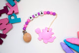 Personalized Teethosaurus Teether + Pacifier Clip