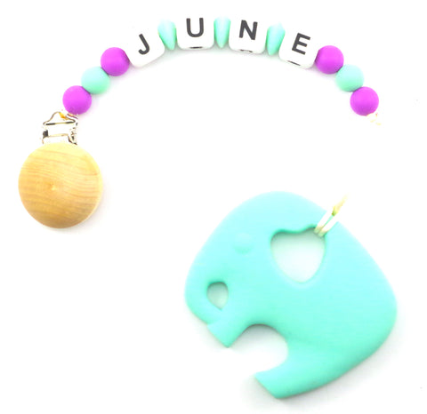 June - Love Elephant Teether + Pacifier Clip