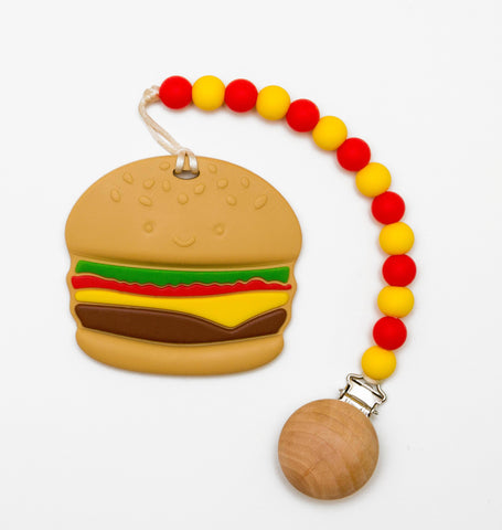Happy Hamburger Teether and Pacifier Clip