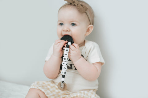 Personalized Cookies & Cream Teether + Pacifier Clip