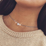 Crystal Heart Necklace Choker