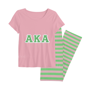 Pink and Green Pajama Pant Set