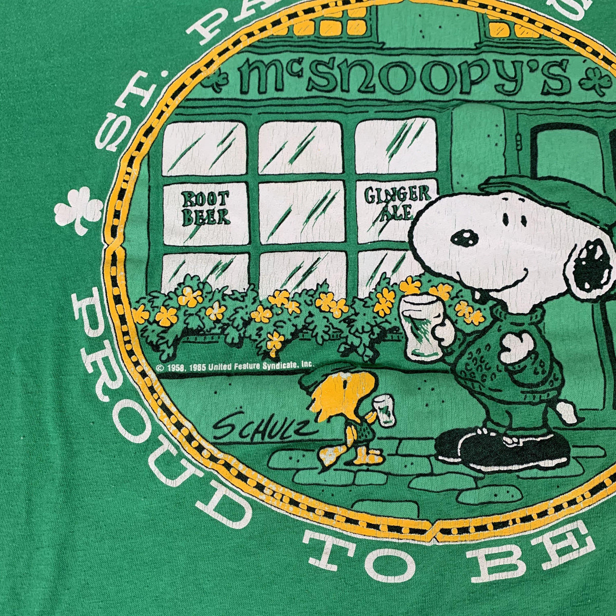 "Vintage Snoopy & Woodstock ""Irish"" Artex T-Shirt - jointcustodydc"