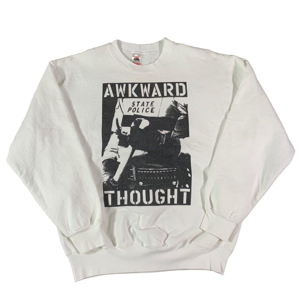 "Vintage Awkward Thought ""To Serve And Protect"" Crewneck Sweatshirt"