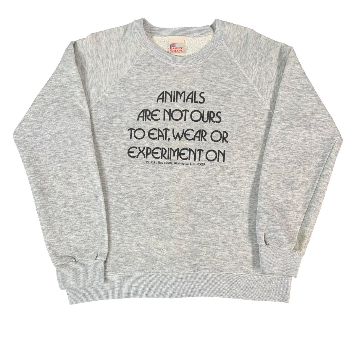 "Vintage People For The Ethical Treatment Of Animals ""Triblend"" Crewneck Sweatshirt"