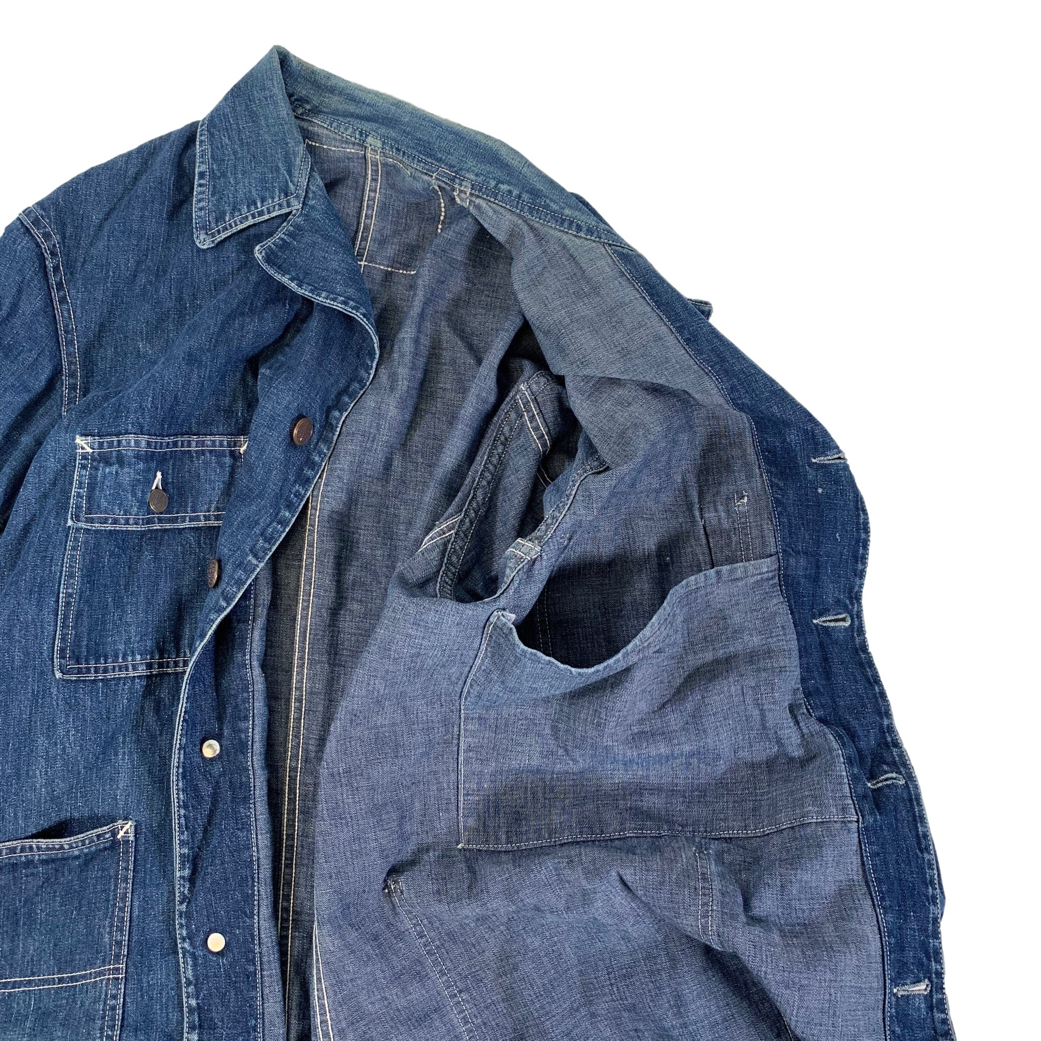 "Vintage Head Light Denim ""Coverall"" Jacket"