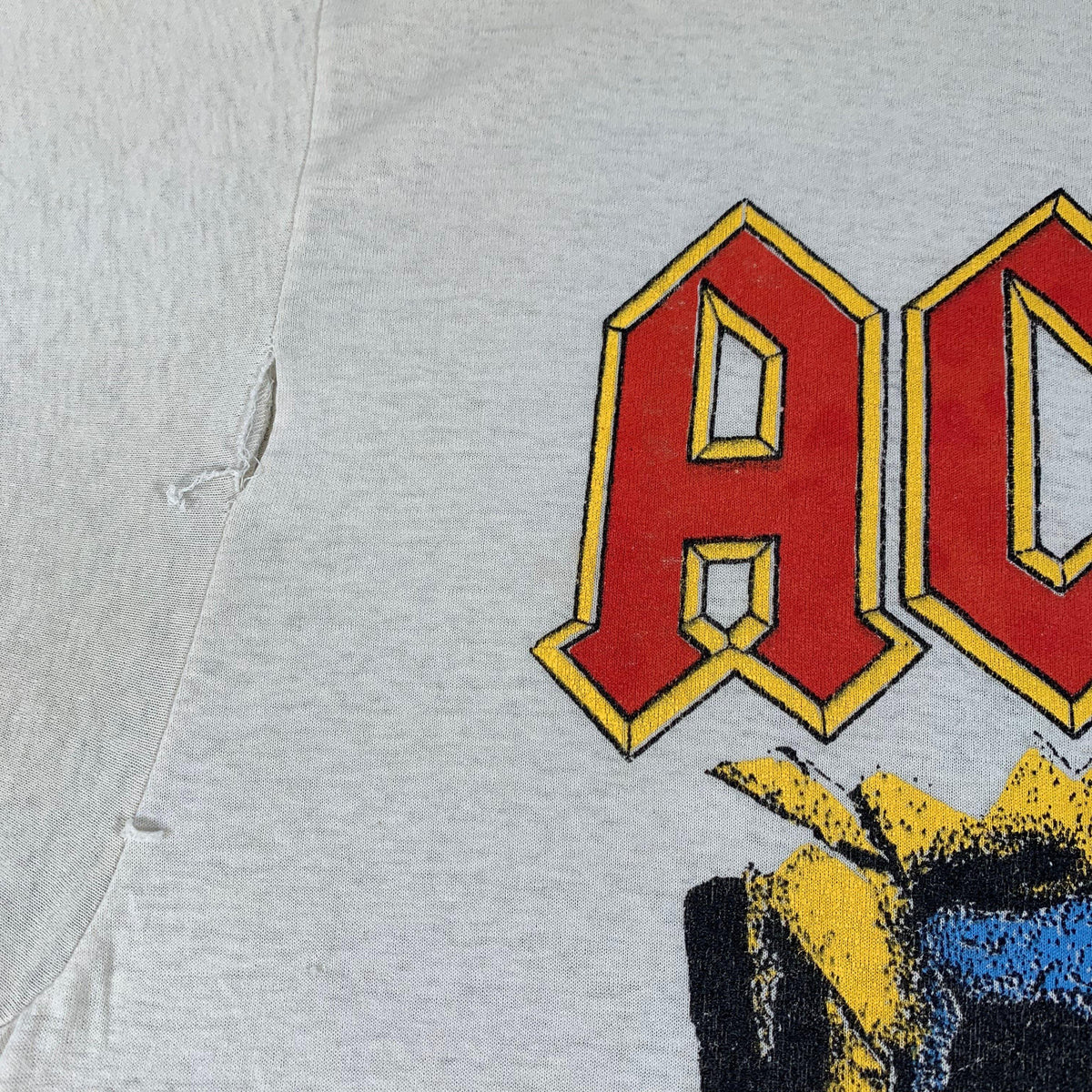 Vintage Original AC/DC Blow Up Your Video T Shirt sleeve rip detail