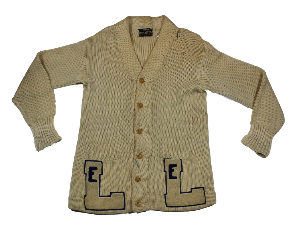 "Vintage Cardigan ""E L"" Letterman Sweater"