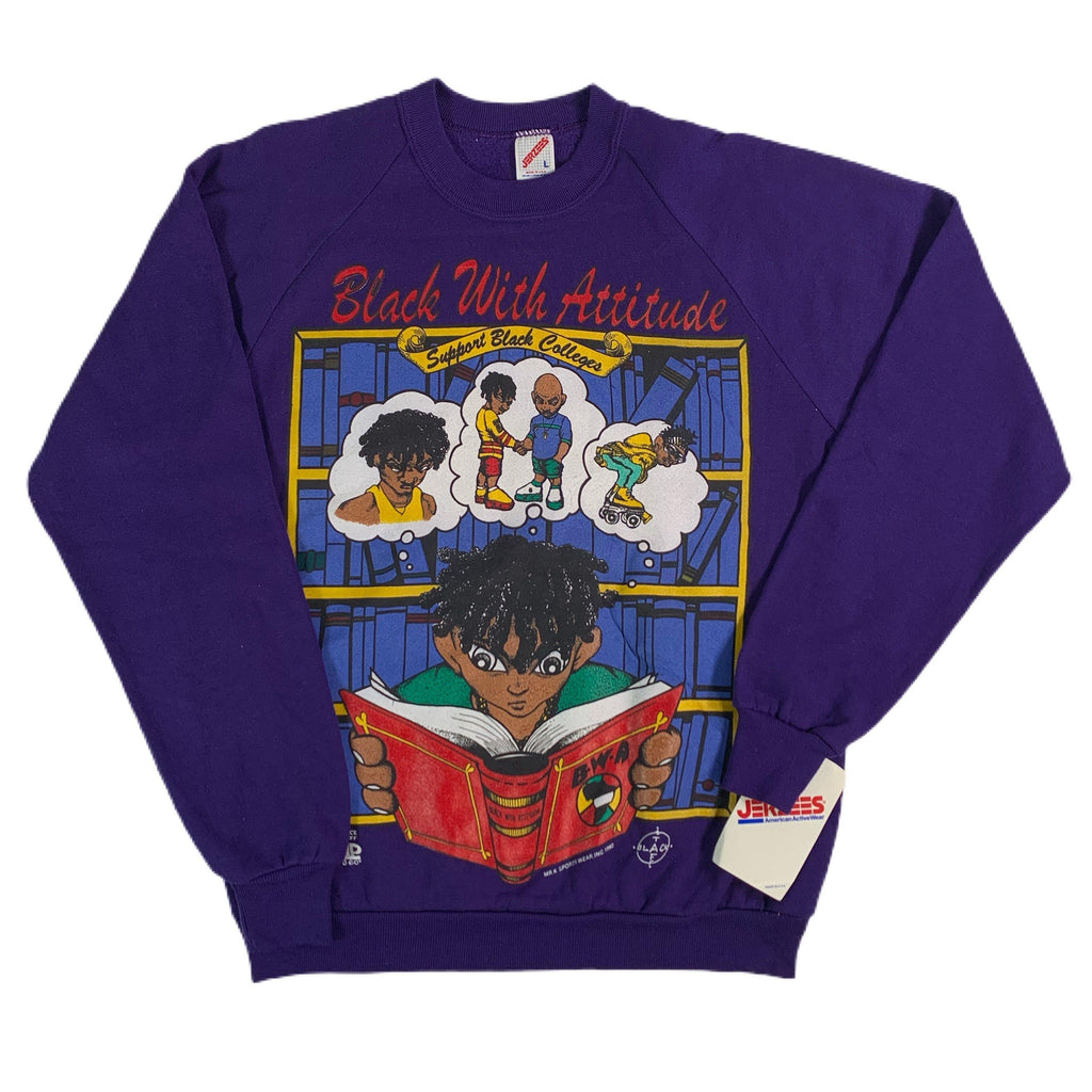 "Vintage Black With Attitude ""Support Black Colleges"" Crewneck Sweatshirt"