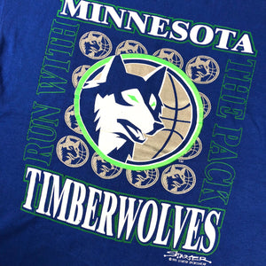 "Vintage Minnesota Timberwolves ""Run With The Pack"" Starter T-Shirt"