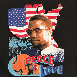 "Vintage Malcolm X ""Peace and Love"" T-Shirt"
