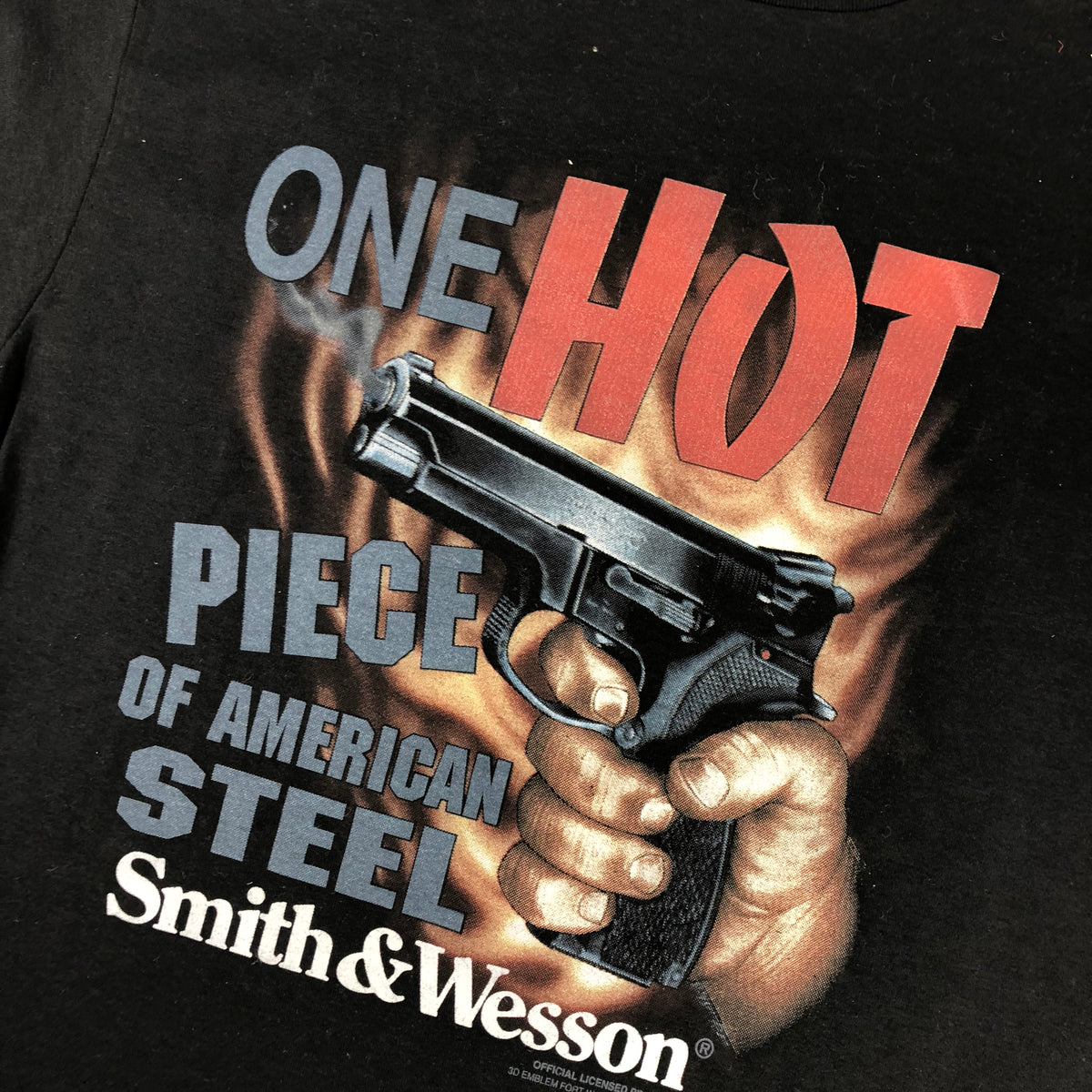 "Vintage Smith & Wesson 3D Emblem ""One Hot Piece of American Steel"" T-Shirt - jointcustodydc"