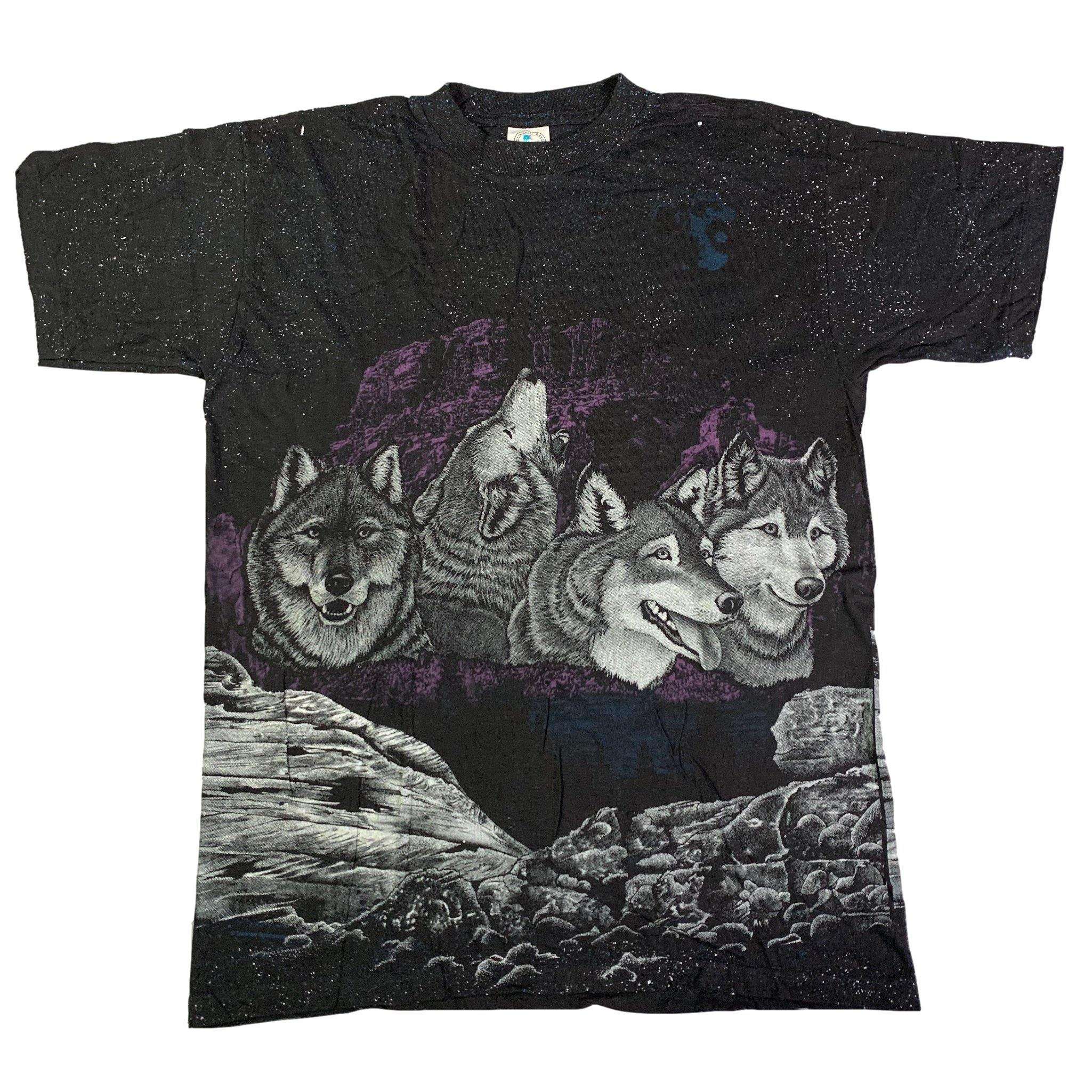 "Vintage All Over Print ""Wolves"" T-Shirt"
