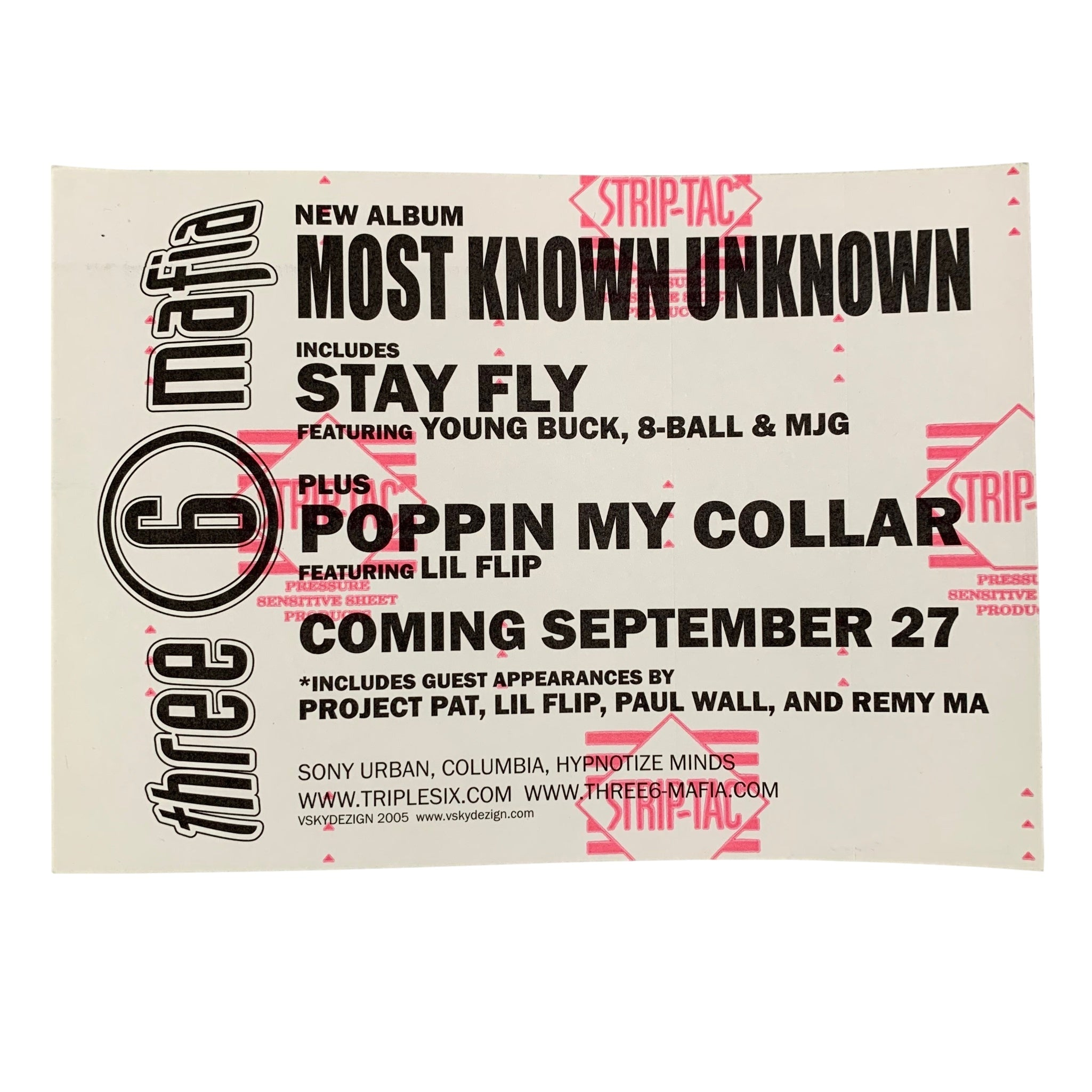 "Vintage Three 6 Mafia ""Stay Fly"" Promo Sticker"