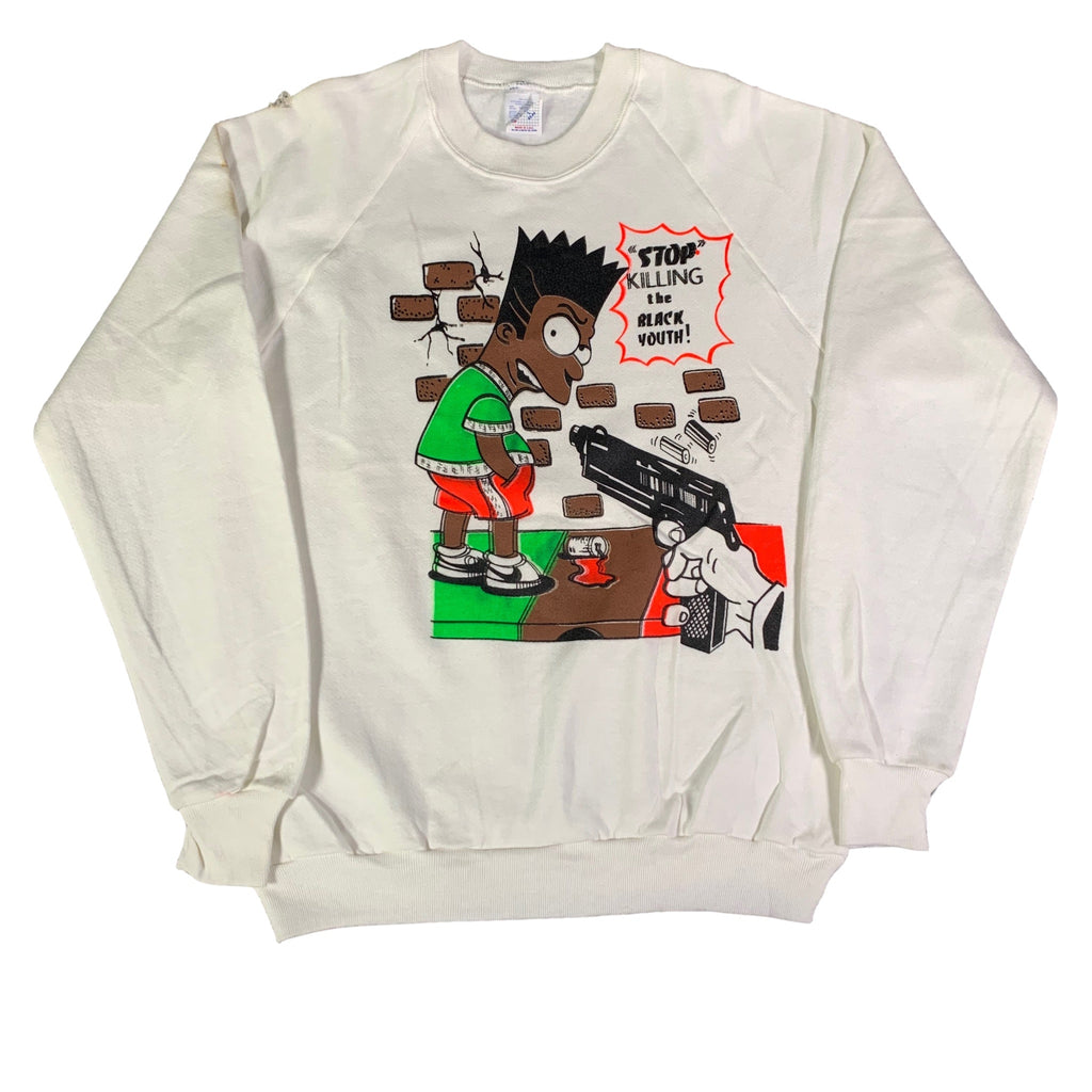 "Vintage Bootleg Bart ""Stop Killing The Black Youth"" Crewneck Sweatshirt"