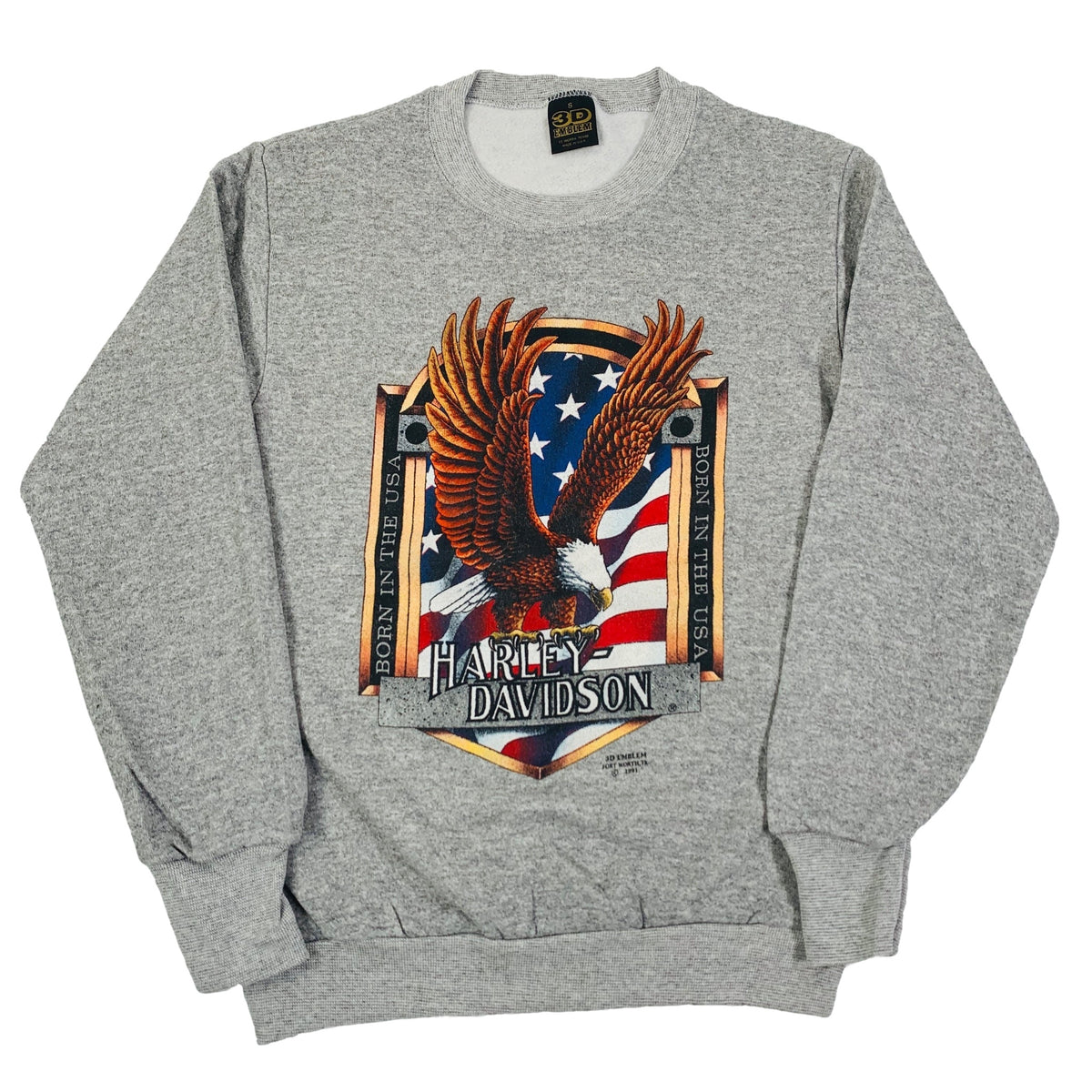 "Vintage Harley-Davidson 3D Emblem ""Born In The USA"" Crewneck Sweatshirt"