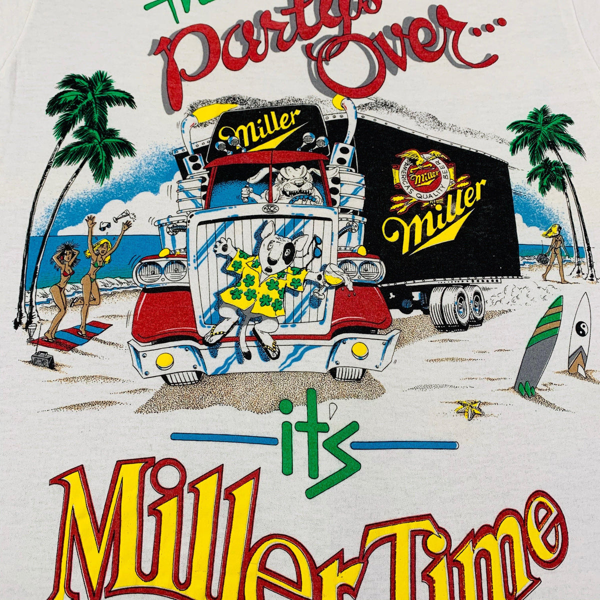 "Vintage Spuds Mackenzie ""The Party's Over"" T-Shirt - jointcustodydc"