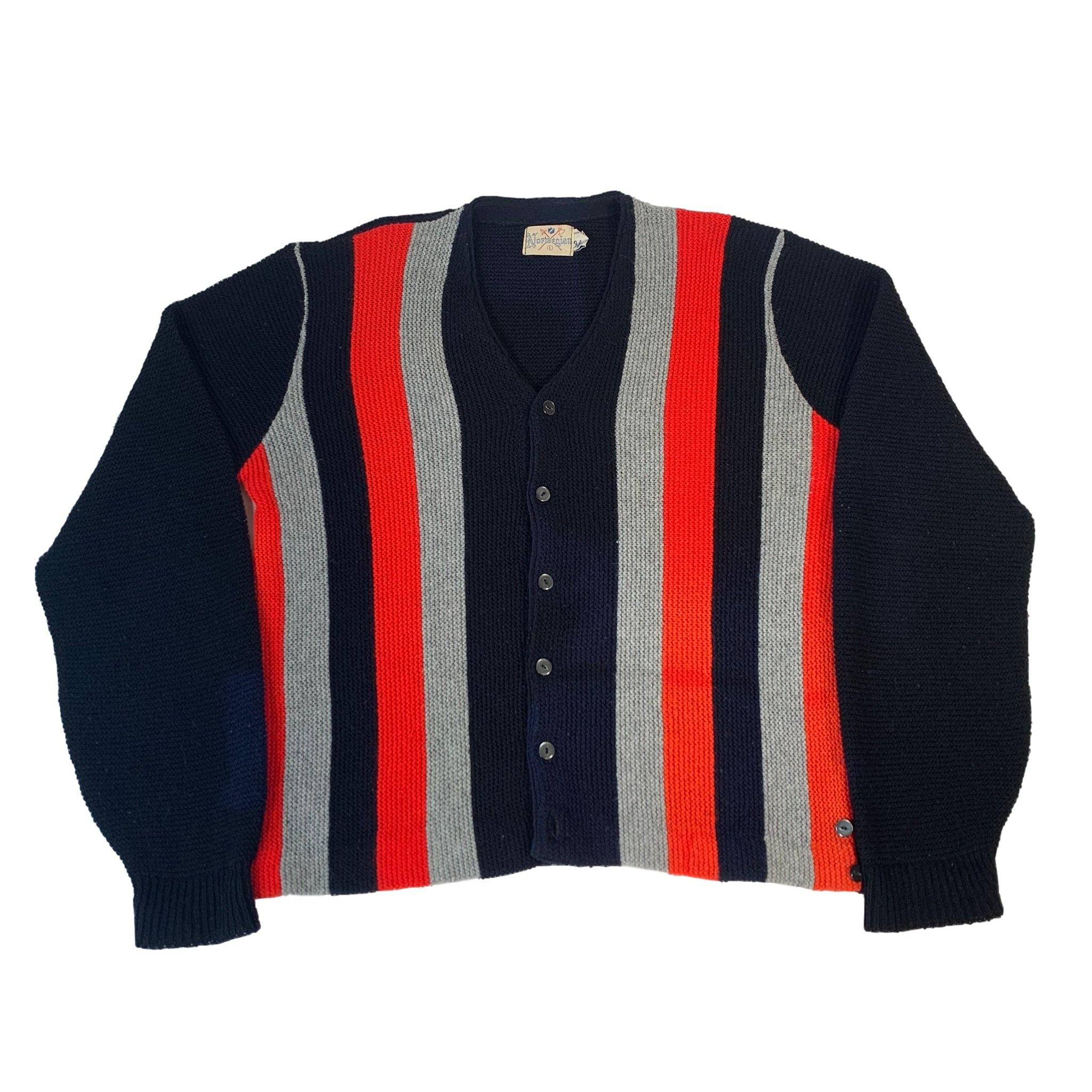 "Vintage Norwegian ""Striped"" Orlon Acrylic Cardigan"